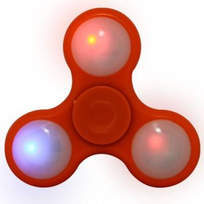 Peonza dedo con luces led, naranja, fidget spinner. PZAL02