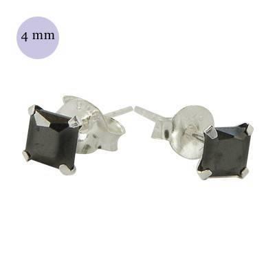 Pendientes de plata con circonita cuadrada 4mm, OR32-2 .Precio por unidad.