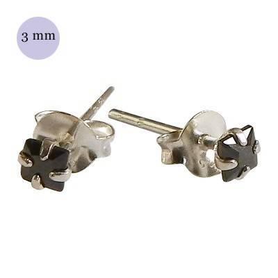 Pendientes de plata con circonita cuadrada 3mm, OR31-2 .Precio por unidad.
