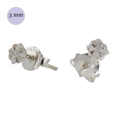Pendientes de plata con circonita cuadrada 3mm, OR31-1 .Precio por unidad.