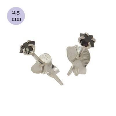 Pendientes de plata con circonita cuadrada 2.5mm, OR30-2 .Precio por unidad.