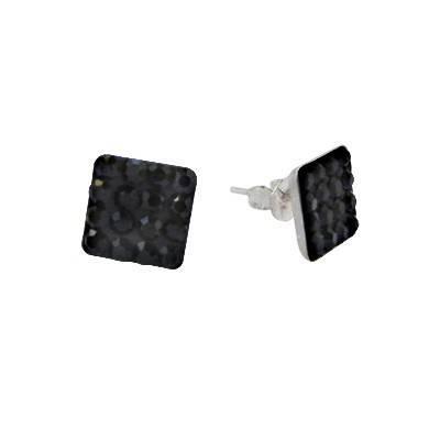 Pendiente de plata con piedras negras hombre, 9mm. Precio por un pendiente.