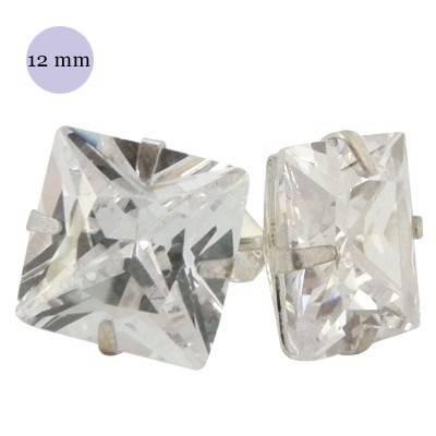 Pendiente de plata con piedra hombre, circonita cuadrada 12mm, color cristal. Precio por un pendiente