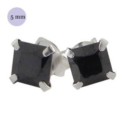 Pendiente de plata con piedra hombre, circonita cuadrada 7mm, color negro. Precio por un pendiente