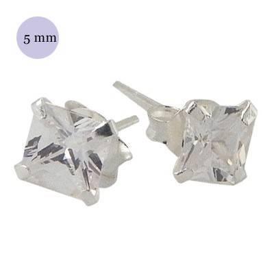 Pendiente de plata con piedra hombre, circonita cuadrada 7mm, color cristal. Precio por un pendiente