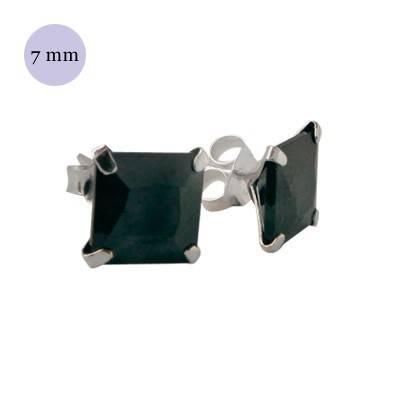 Pendientes de plata con circonita cuadrada 6mm, OR34-2 .Precio por unidad.