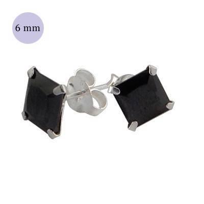 Un pendiente de plata con circonita cuadrada 5mm, color negro, OR33-2 .Precio por unidad.