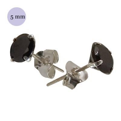 Pendiente de plata con piedra hombre, circonita redonda 5mm, color negro. Precio por un pendiente