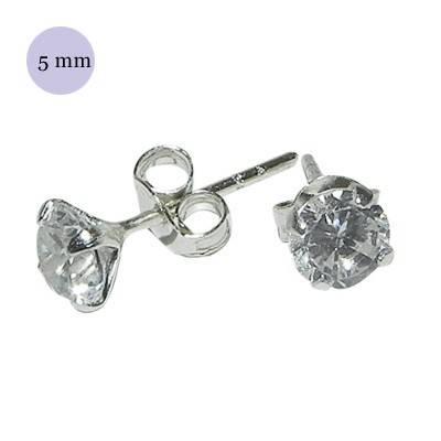 Pendiente de plata con piedra hombre, circonita redonda 5mm, color cristal. Precio por un pendiente