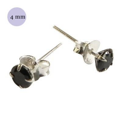 Pendientes de plata con circonita redonda 4mm, OR72-2 .Precio por unidad.