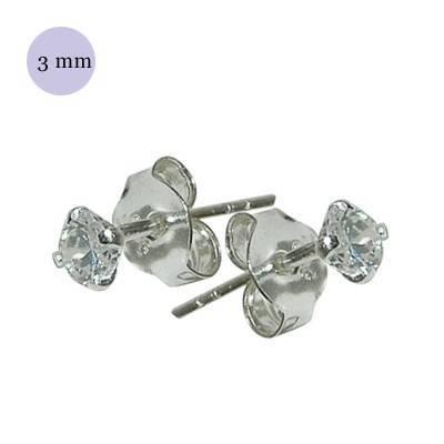 Pendiente de plata con piedra hombre, circonita redonda 3mm, color cristal. Precio por un pendiente
