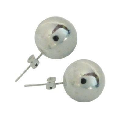 Pendientes bola de plata de ley, 10mm de diametro, OR28. Precio por unidad.