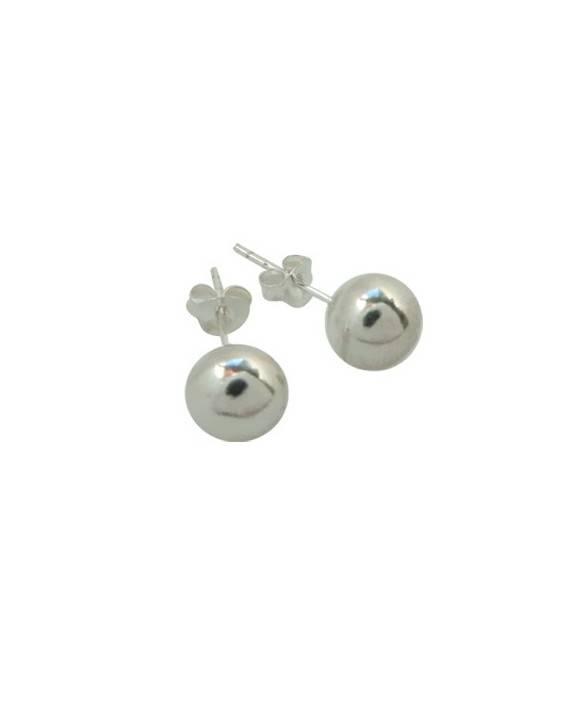 Pendientes bola de plata de ley, 7mm de diametro, OR26. Precio por unidad.