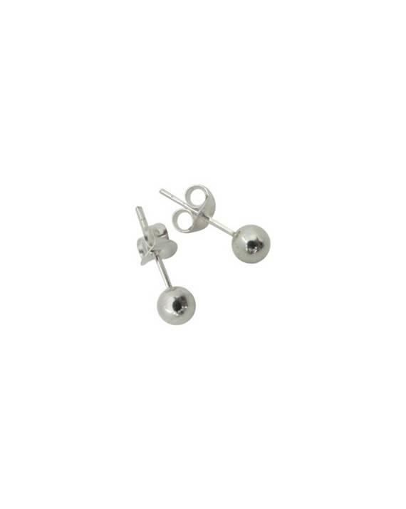 Pendientes bola de plata de ley, 4mm de diametro, OR23. Precio por unidad.