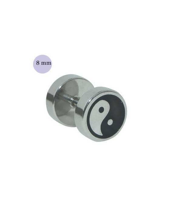 Dilatacion falsa acero, dibujo yin yang, 8mm diámetro