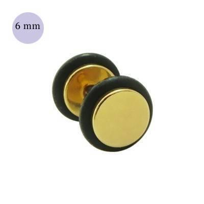 Dilatacion falsa dorada de acero con anillas de goma, diámetro 6mm