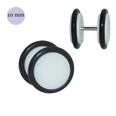 Dilatación falsa blanca de plástico con dos anillas de goma, diámetro 10mm