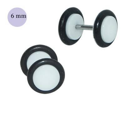 Dilatación falsa blanca de plástico con dos anillas de goma, diámetro 6mm