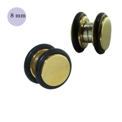 Dilatación falsa de iman dorada de acero con anillas de goma, 8mm