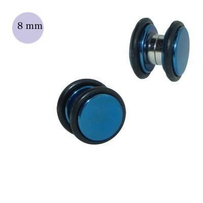 Dilatación falsa de iman azul de acero con anillas de goma, 8mm