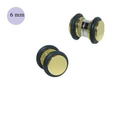 Dilatación falsa de iman dorada de acero con anillas de goma, 6mm