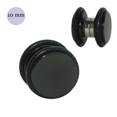Dilatación falsa de iman de acero negra con anillas de goma, 10mm