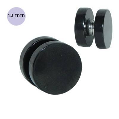 Dilatación falsa de iman de acero negra, diámetro 12mm