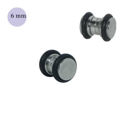 Dilatación falsa de iman de acero con anillas de goma, 6mm