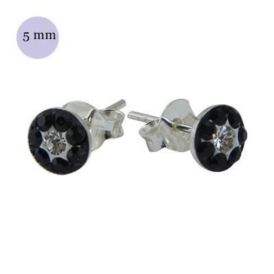 Pendiente de plata con piedras 5mm, OR77-3