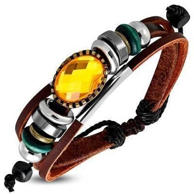 Pulsera de cuero mujer, regulable, color marron. MBR27