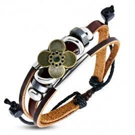 Pulsera de cuero mujer, regulable, color marrón. MBR44