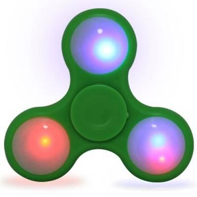 Peonza dedo con luces led, verde, fidget spinner. PZAL01