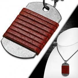 Cadena de acero quirúrgico con placa militar y cuero marrón oscuro. BCL32