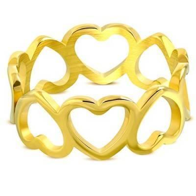 Anillo de acero quirúrgico dorado para mujer. HAQ01