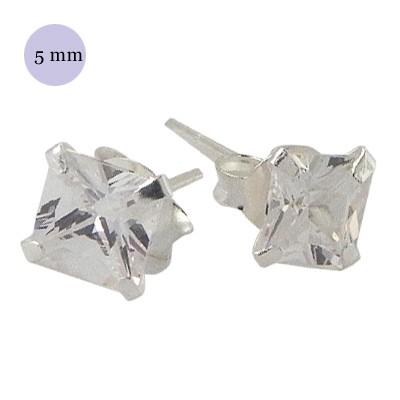 Pendientes de plata con circonita cuadrada 5mm, OR33-1 .Precio por unidad.