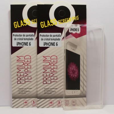 Oferta, dos protectores de cristal templado y funda transparente para iPhone 6