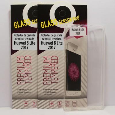 Oferta, dos protectores de cristal templado y funda transparente para Huawei P8Lite 2017