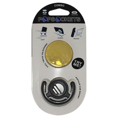 Popsocket dorado, accesorio para móviles, se pega en la parte trasera para hacer fotos
