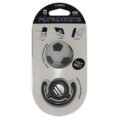 Popsocket dibujo balon de futbol, accesorio para móviles, se pega en la parte trasera para hacer fotos