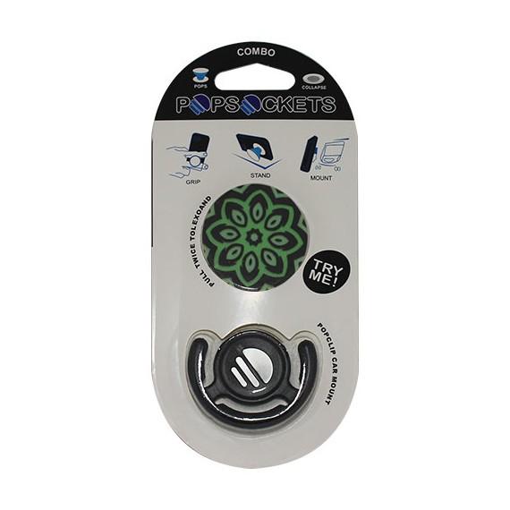 Popsocket dibujo verde oscuro, accesorio para móviles, se pega en la parte trasera para hacer fotos