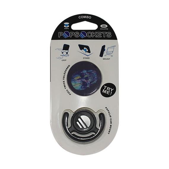 Popsocket dibujo una calavera, accesorio para móviles, se pega en la parte trasera para hacer fotos