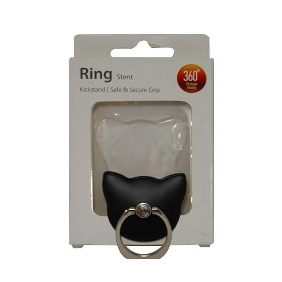 Popsocket de aluminio gato negro, accesorio para móviles, se pega en la parte trasera para hacer fotos