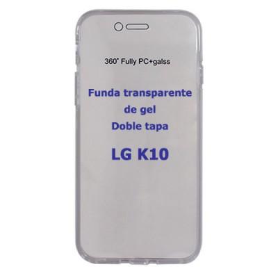 Funda LG K10 con dos tapas transparentes de gel