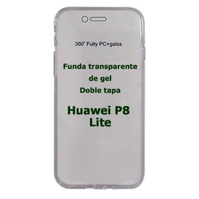 Funda Huawei P8 Lite doble tapa transparente de gel