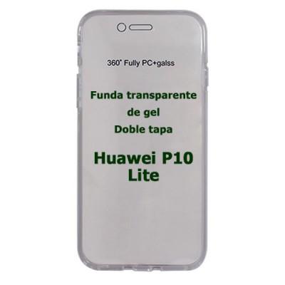 Funda Huawei P10 Lite doble tapa transparente de gel