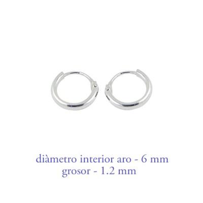Aro de plata chico, grosor 1,2mm, diámetro interior 6mm. Precio por un aro