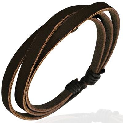 Pulsera de cuero auténtico marrón regulable hombre