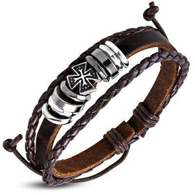 Pulsera marrón de cuero auténtico y acero, con una cruz templaria, regulable hombre