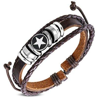 Pulsera marrón de cuero auténtico y acero, con una estrella blanca, regulable hombre