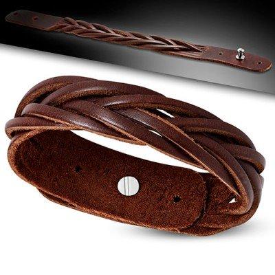 Pulsera marrón de cuero auténtico trenzada, regulable hombre